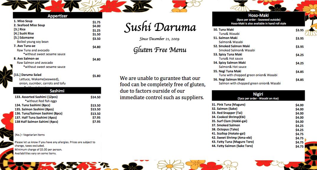 Gluten Free Menu Sushi Daruma